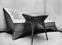 Little table and sofa (probably part of the furnishings for a lady´s drawing-room), 1912, (probably also shown at the second Group of Fine Artists´exhibition, September—November 1912), published in Styl V, 1913, p. 23