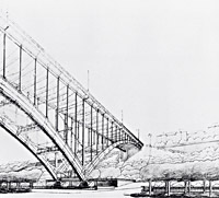 Vlastislav Hofman, Leoš Kopeček and the Škoda Works, competition design for a bridge over the Nusle valley, Prague, view of the shore span and bridgehead on the Prague side, 1927